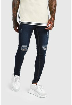 Indigo Spray On Skinny Jean With Ripped Knee