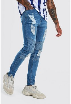 Light blue Spray On Skinny Jeans With All Over Rips