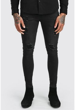 Washed black Spray On Skinny Jeans With Ripped Knee
