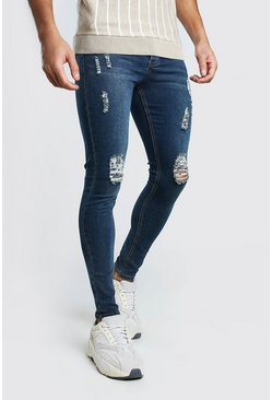 Indigo Spray On Skinny Jeans With Ripped Knee