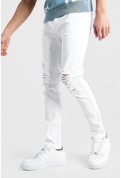 White Skinny Fit Jean With Ripped Knees