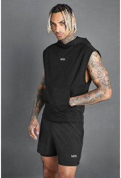 Black MAN Active Hooded Tank With Step Hem
