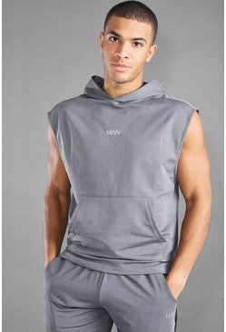 Charcoal MAN Active Hooded Tank With Step Hem