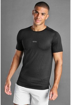Black MAN Active Printed T-Shirt With Mesh Inserts