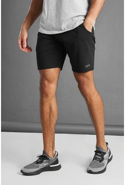 Black MAN Active Mid Length Shorts With Panel Detail