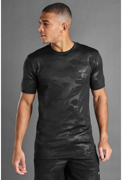 Black MAN Active Muscle Fit Fabric Interest T-Shirt