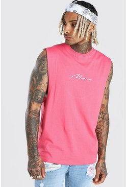 Pink MAN Signature Drop Armhole Tank