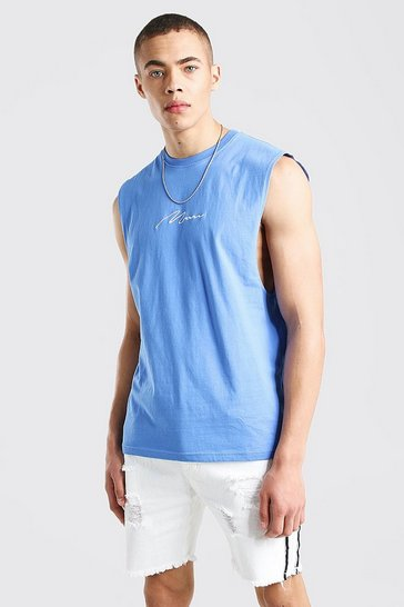 Cornflower blue MAN Signature Drop Armhole Tank