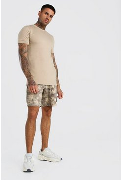 Taupe Muscle Fit Crew Neck T-Shirt