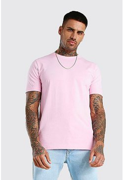 Pale pink Basic Crew Neck T-Shirt