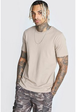 Taupe Basic Crew Neck T-Shirt