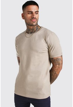 Taupe Crew Neck T-Shirt With Rolled Sleeves