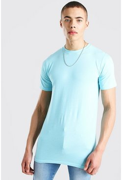 Pale blue Longline Muscle Fit T-Shirt