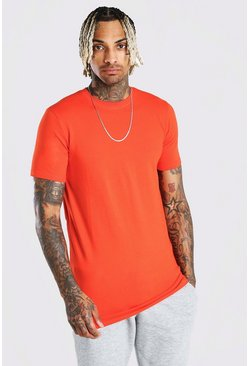 Tomato Longline Muscle Fit T-Shirt