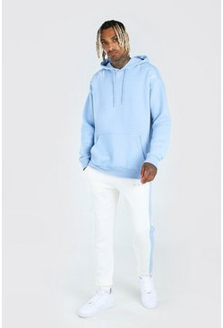 Powder blue His Hi Lo Boxy Fit Hooded Tracksuit