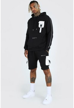 Black His Utility Hooded Short Tracksuit