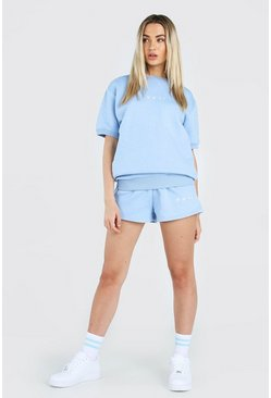 Powder blue Her Short Sleeve Sweater And Short Set