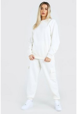 Ecru Hers Loose Fit Utility Sweater Tracksuit