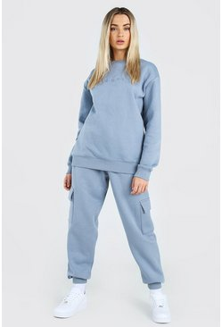 Hers Loose-Fit Utility-Sweater-Jogginganzug, Grau