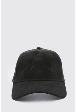 Black MAN Script Faux Suede Trucker