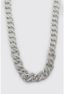 Silver Diamante Chunky Chain Necklace