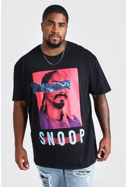 Black Big & Tall - T-shirt med Snoop Dogg-tryck