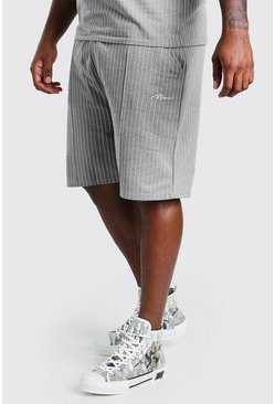 Grey Big And Tall MAN Pinstripe Jacquard Shorts
