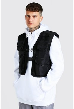 Black Boxy Mesh 8 Pocket Utility Vest