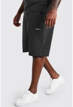 Black Big And Tall MAN Pinstripe Jacquard Shorts