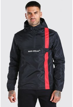 Black MAN Official Stripe Overhead Cagoule