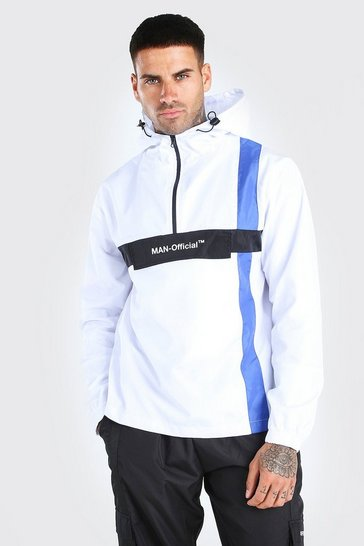 White MAN Official Stripe Overhead Cagoule