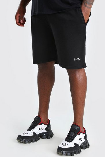 Black Big And Tall MAN Mid Length Jersey Short