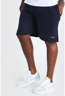 Navy Big And Tall MAN Mid Length Jersey Short