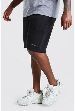 Black Big & Tall - Man Script Shorts i jersey