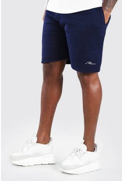 Shorts de punto con inscripción MAN Big And Tall, Azul marino