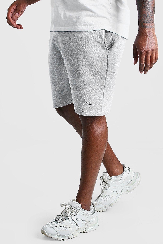 mens plus size man script jersey short - grey