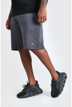 Charcoal Big & Tall - Man Script Shorts i jersey