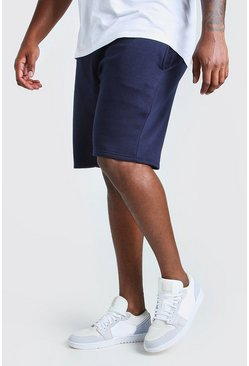 Navy Big And Tall Basic Mid Length Jersey Short