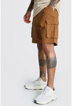 Brown Elastic Waist Cargo Short