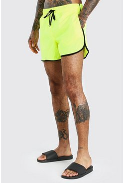 Neon-yellow Plain Neon Runner Style Swim Short