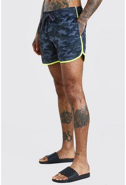 Dark grey Camo Print Runner Style Swim Shorts