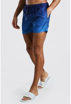 Blue Mid Length Ombre Swim Short