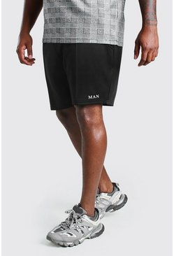 Black Big And Tall MAN Roman Pintuck Scuba Short