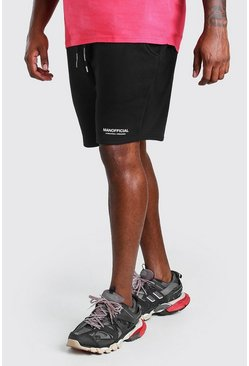 Black Big And Tall MAN Official Print Waistband Short
