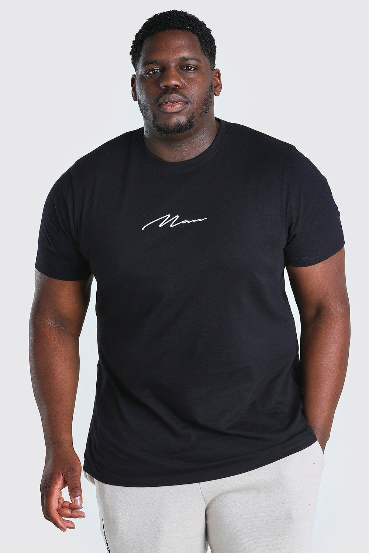 mens plus size man script longline t-shirt - black
