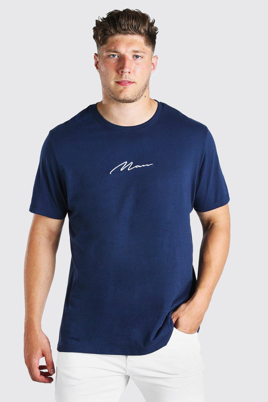 mens plus size man script longline t-shirt - navy