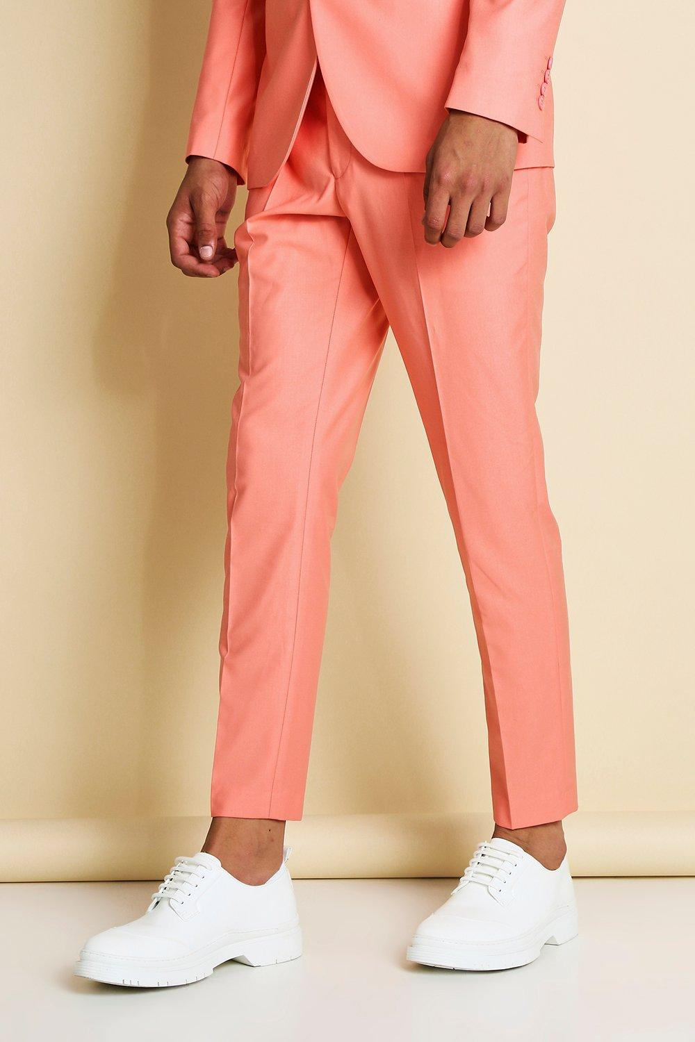 mens skinny plain suit pants - orange