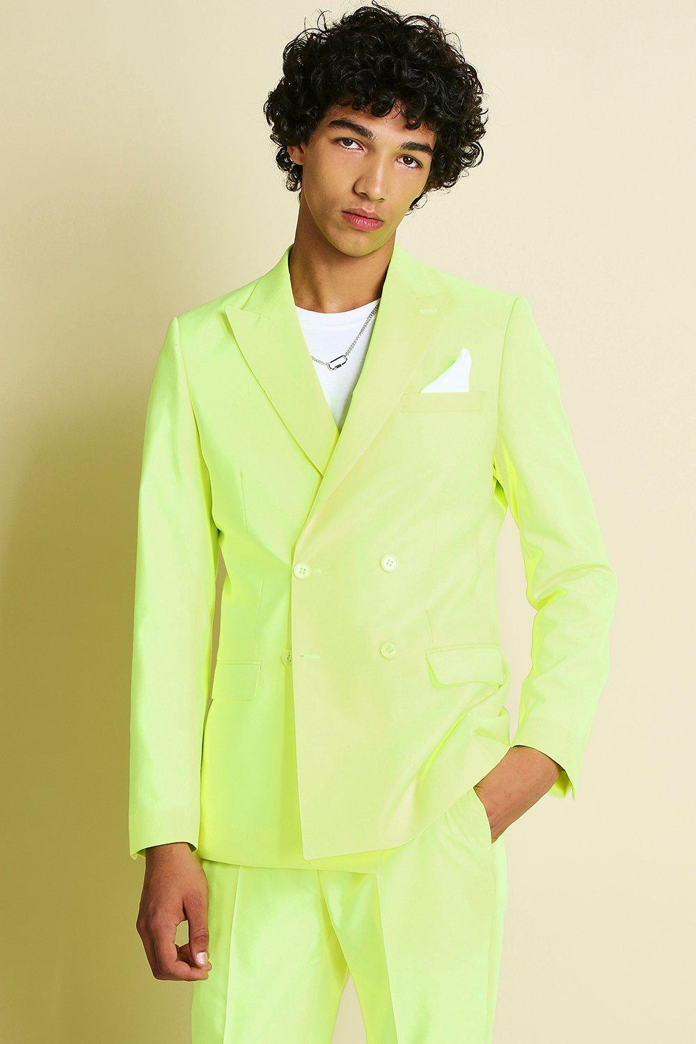 1980s Clothing, Fashion | 80s Style Clothes Mens Skinny Neon Double Breasted Suit Jacket - Yellow $57.00 AT vintagedancer.com