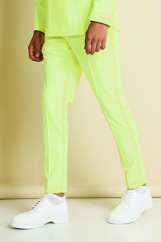 Men's Vintage Style Suits, Classic Suits Mens Skinny Neon Cropped Suit Pants - Yellow $24.00 AT vintagedancer.com