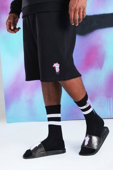 Black Big And Tall Quavo Loose Shorts With Drip Face